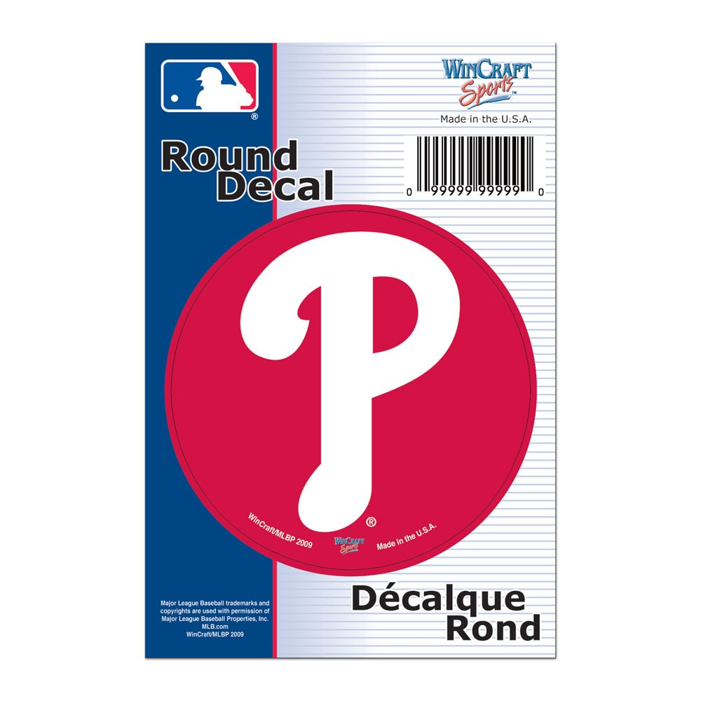 Philadelphia Phillies Official MLB 3 inch  Round Vinyl Car Decal by Wincraft