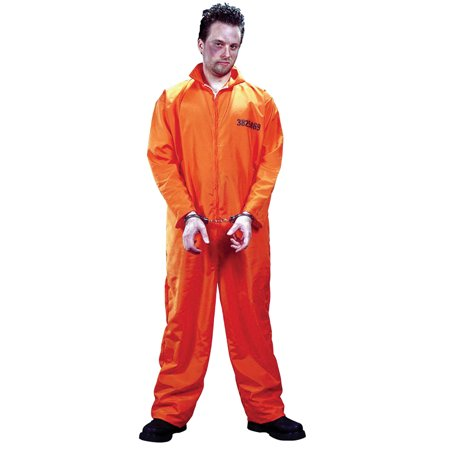 Got Busted Orange Jumpsuit Adult Halloween Costume - One Size - On The Run Halloween Costume