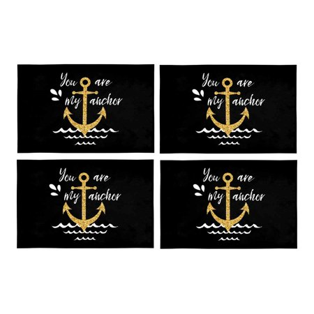 MKHERT Golden Nautical Anchor with Love Quotes You are My Anchor Placemats  Table Mats for Dining Room Kitchen Table Decoration 12x18 inch,Set of 4