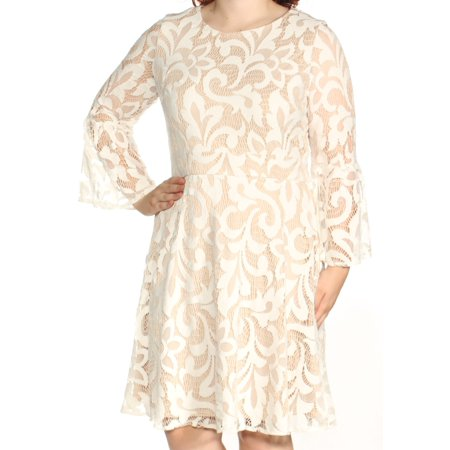 Jessica Howard Womens Ivory Lace Bell Sleeve Jewel Neck Above The Knee Fit Flare Dress Size 16