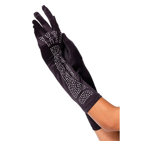 Rhinestone Bone Elbow Length Gloves