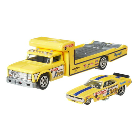 Hot Wheels '72 Plymouth Cuda Funny Car & Retro Rig Yellow 1:64 Scale Premium Collector Vehicle