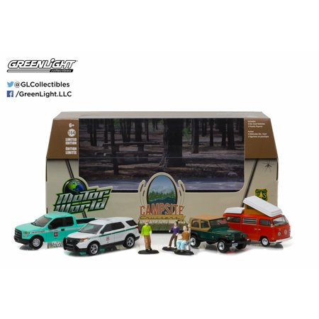 1:64 Motor World Multi-Car Dioramas - Campsite Cruisers United States Forest Service (USFS) Edition (4-Car set with 3