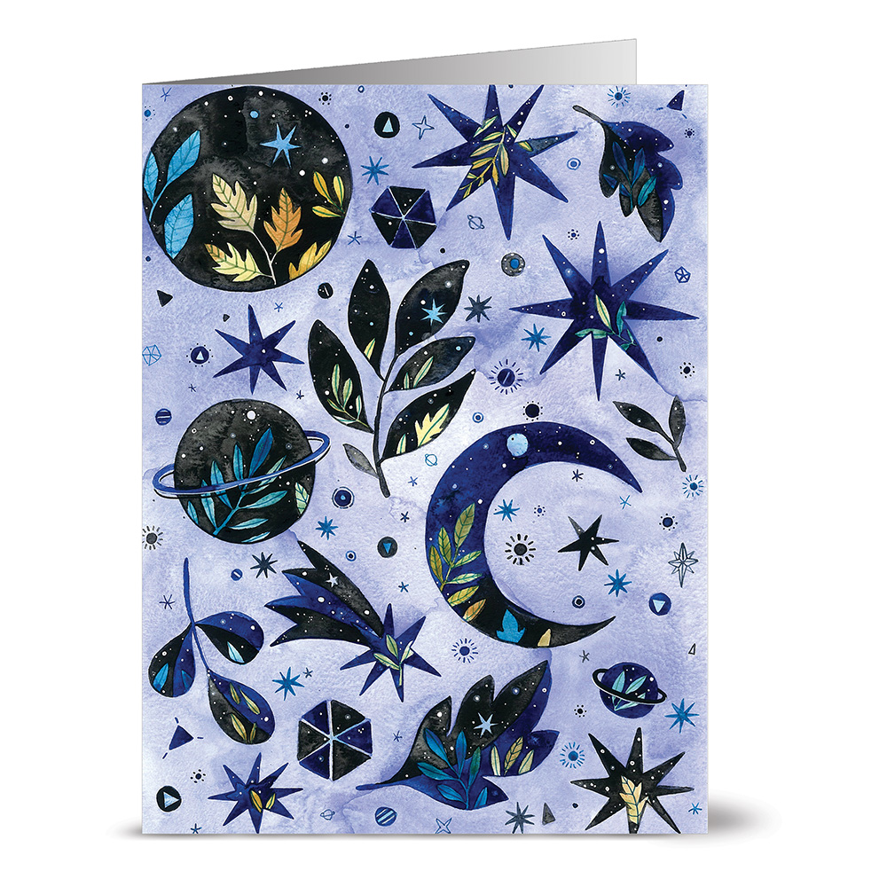 24 Note Cards - Celestial Collection - Blank Cards - Cobalt Blue Envelopes Included