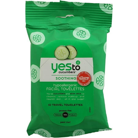 Yes to Cucumbers Soothing Hypoallergenic Facial Towelettes, Travel Size 10