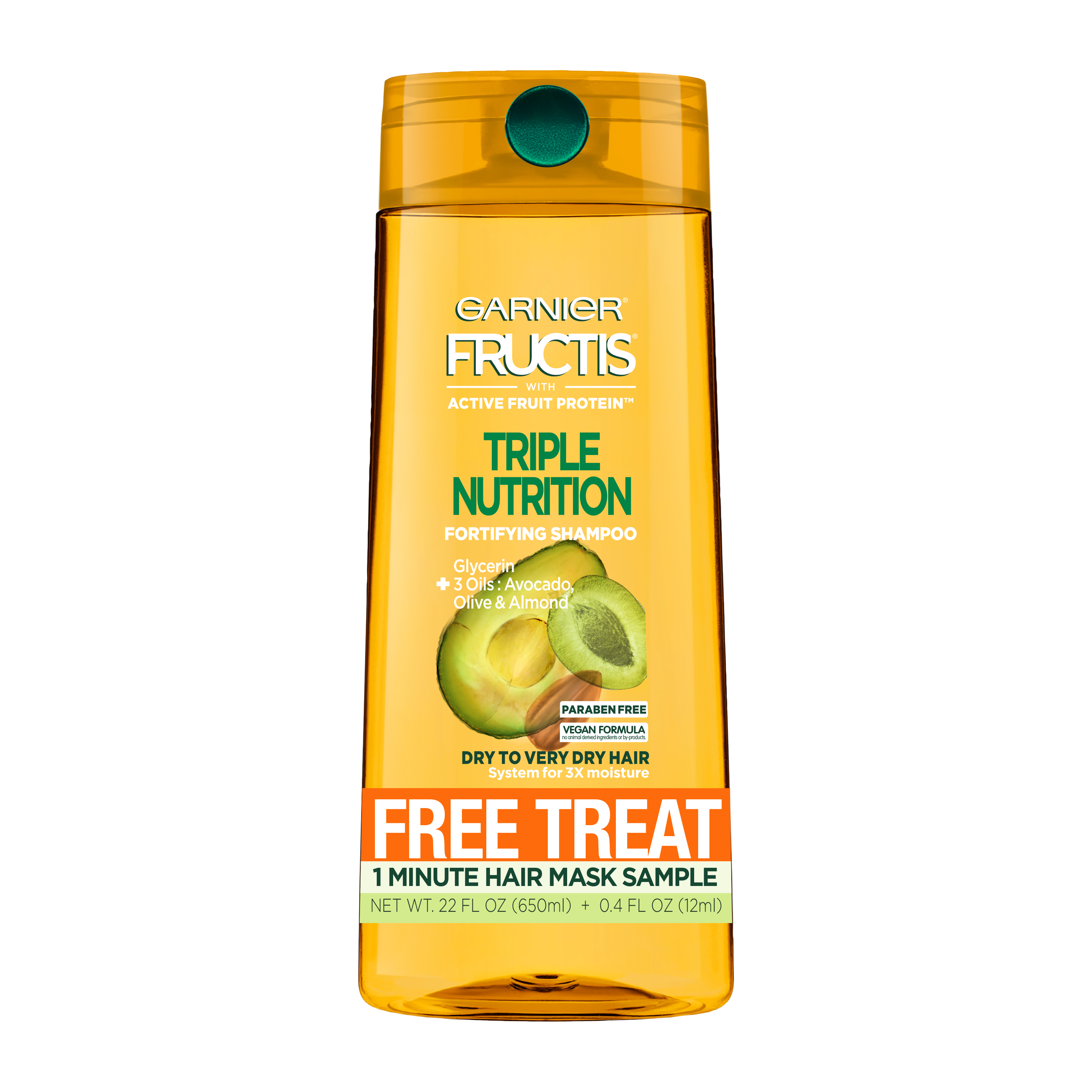 Garnier Fructis Triple Nutrition Shampoo with a Free Smoothing Treat 1 Minute Hair Mask Sample, 1 kit