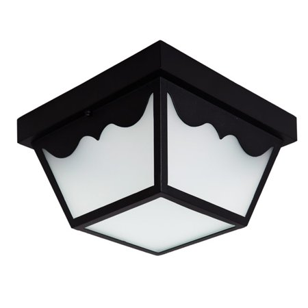 Maxxima LED Outdoor Porch Ceiling Light Fixture, Black w/ Frosted Glass, 700 Lumens