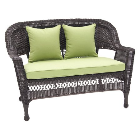 Jeco Wicker Patio Loveseat With Cushion And Pillows