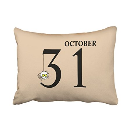 WinHome Fun Cartoon Spider Happy Halloween October 31st Fashion Polyester 20 x 30 Inch Rectangle Throw Pillow Covers With Hidden Zipper Home Sofa Cushion Decorative Pillowcases - Friday 31st October Halloween