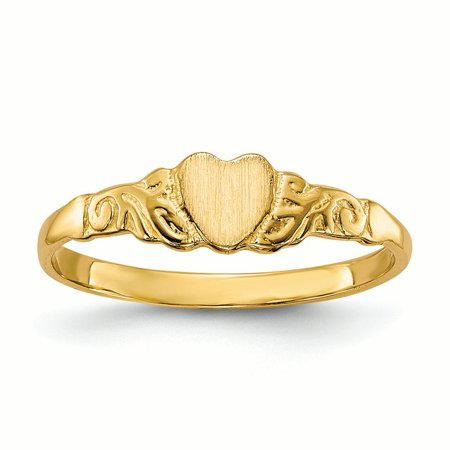 14K Yellow Gold Baby and Children Signet Heart Ring, Size