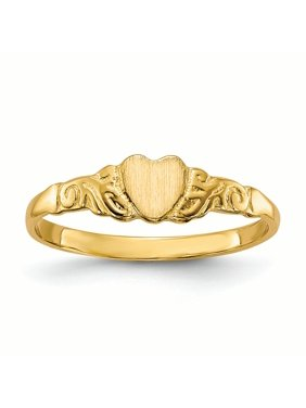 14K Yellow Gold Baby and Children Signet Heart Ring, Size 4.5