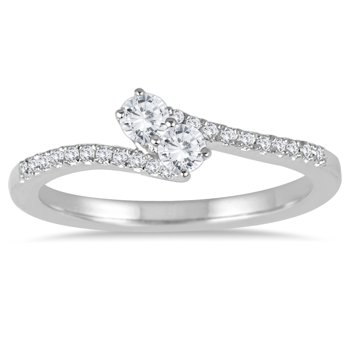 1/4 Carat Tw Two Stone In 10k White Gold Diamond Ring