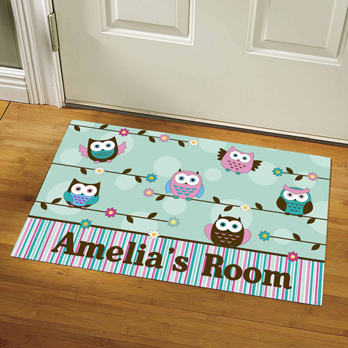 "Personalized Colorful Owl Doormat, 17"" x 27"""
