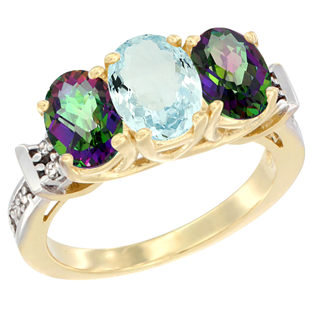 14K Yellow Gold Natural Aquamarine & Mystic Topaz Sides Ring 3-Stone Oval Diamond Accent, sizes 5 10 by WorldJewels