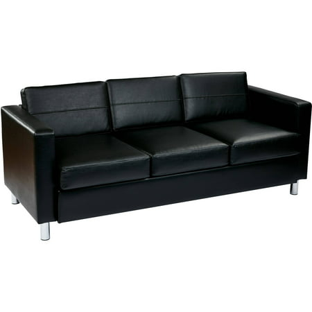 OSP Home Furnishings Pacific Sofa in Black Faux Leather