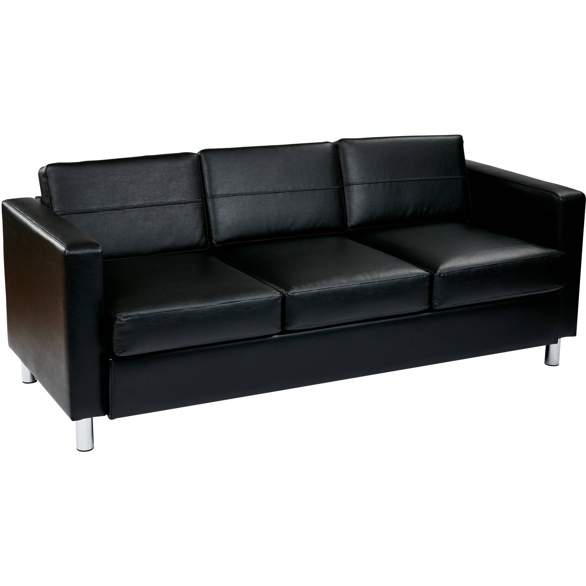 Ave Six, Pacific Faux Leather Sofa Couch With Box Spring Seats, Black