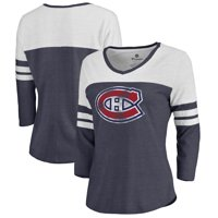 Montreal Canadiens Women's Distressed Team Primary Logo Three-Quarter Sleeve Tri-Blend T-Shirt - Navy
