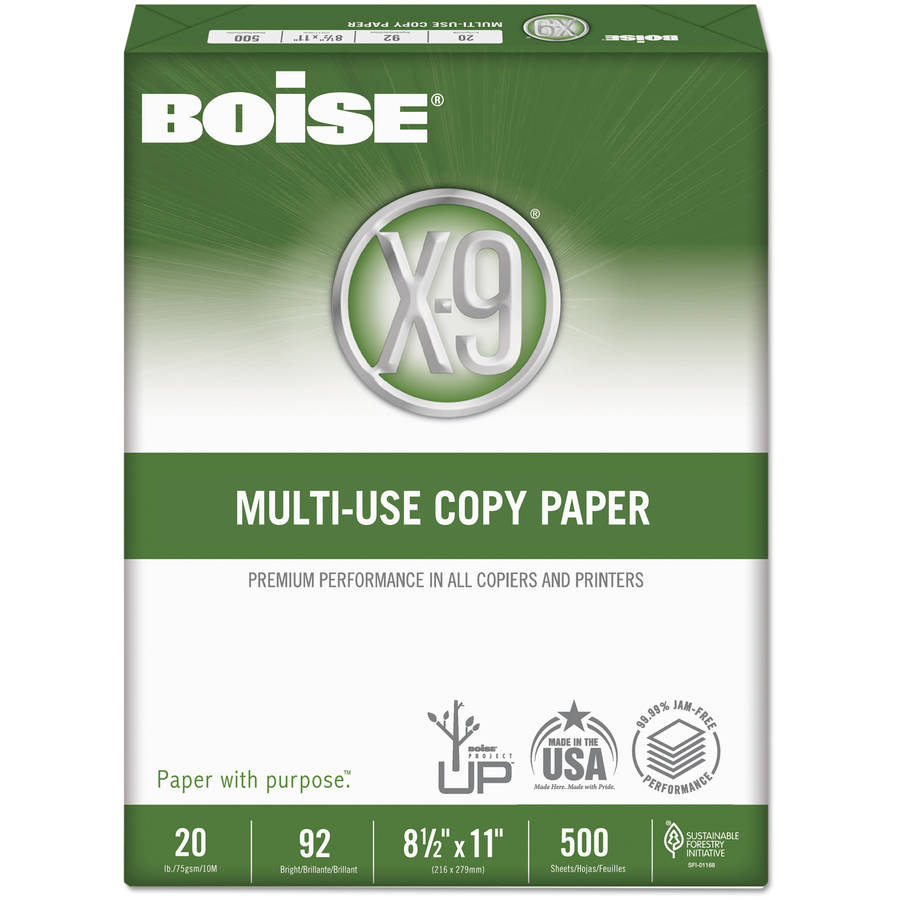 "Boise X-9 Copy Paper, 92 Brightness, 8.5"" x 11"", White, 5000 Sheets"