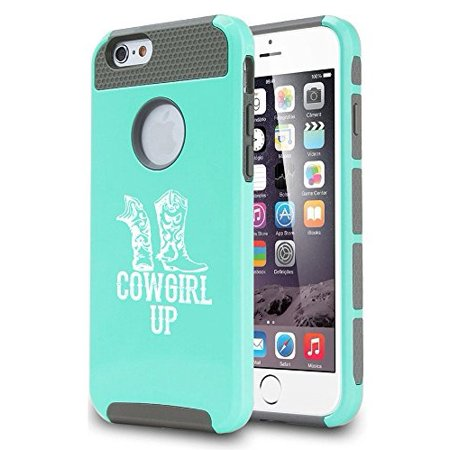 Teal Cowgirl Boots (For Apple (iPhone 8) Shockproof Impact Hard Soft Case Cover Cowgirl Up Boots)
