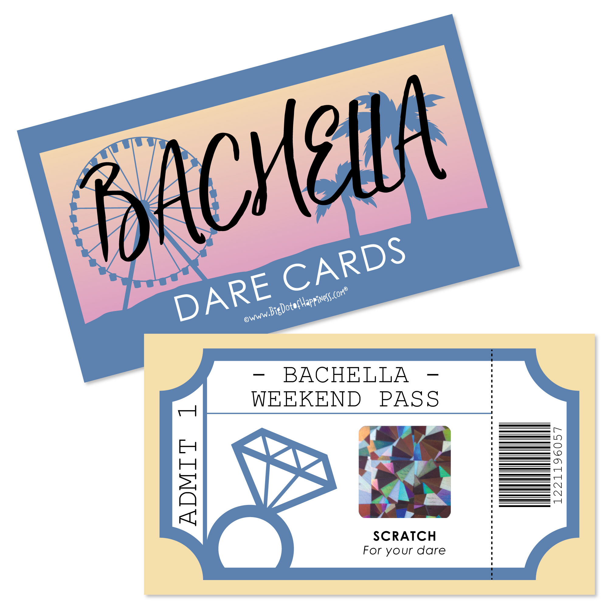 Bachella - Palm Springs Boho Bachelorette Party Game Scratch Off Dare Cards - 22 Count