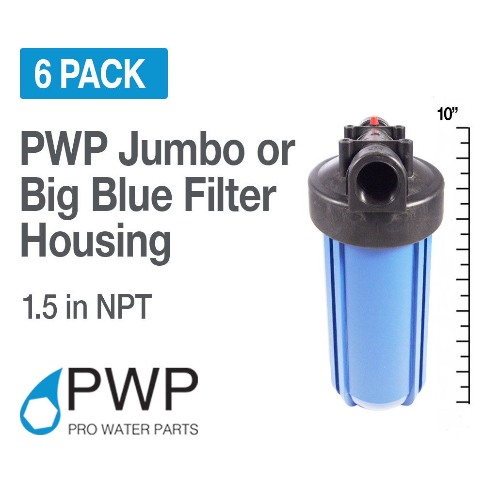 "6) Pack 10x4.5"" Big Blue Water Filter Housing 1 1/2"" NPT Port Whole House RO/DI"
