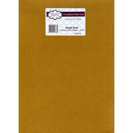 Foundation A4 Pearl Cardstock 230gsm pk 20 - Bright Gold Gold Border Photo Card