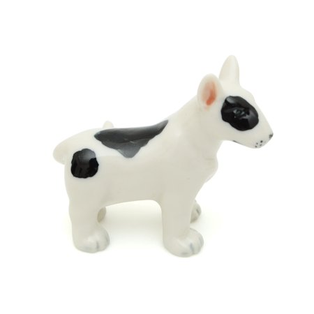 Handmade Miniatures Ceramic Bull Terrier Figurine Animals Decor Collection