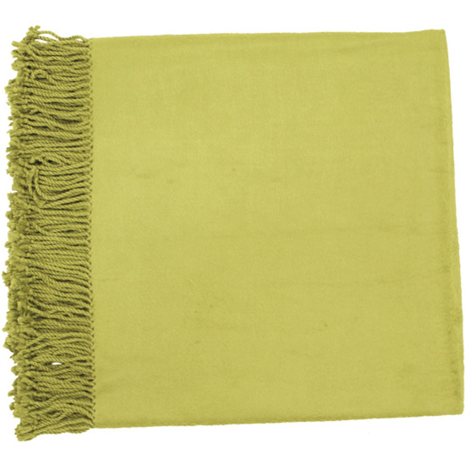 "50"" x 67"" Right At Home Cozy Avocado Green Throw Blanket"