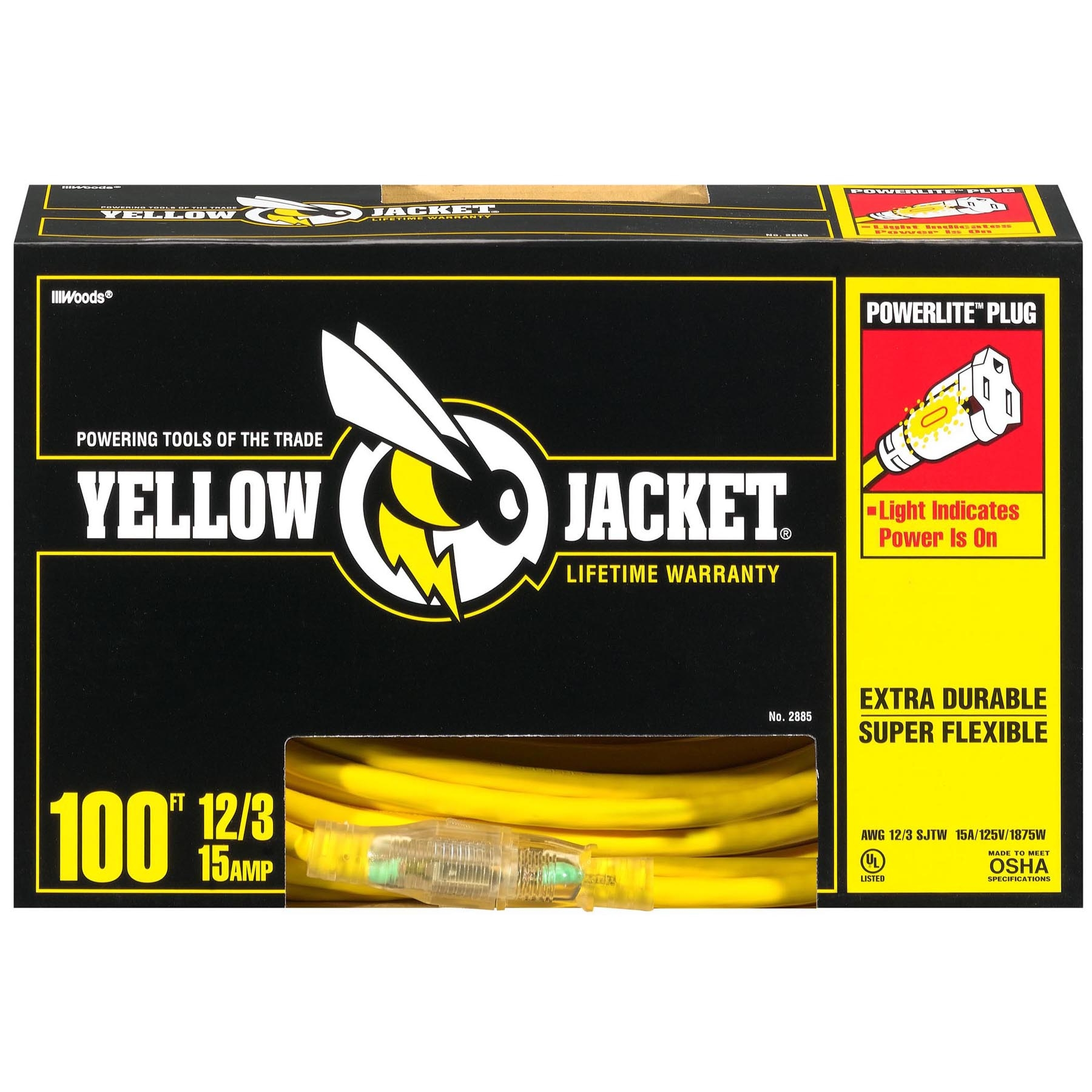 Yellow Jacket 2885 100' 12/3 Yellow Jacket® Extension Cord