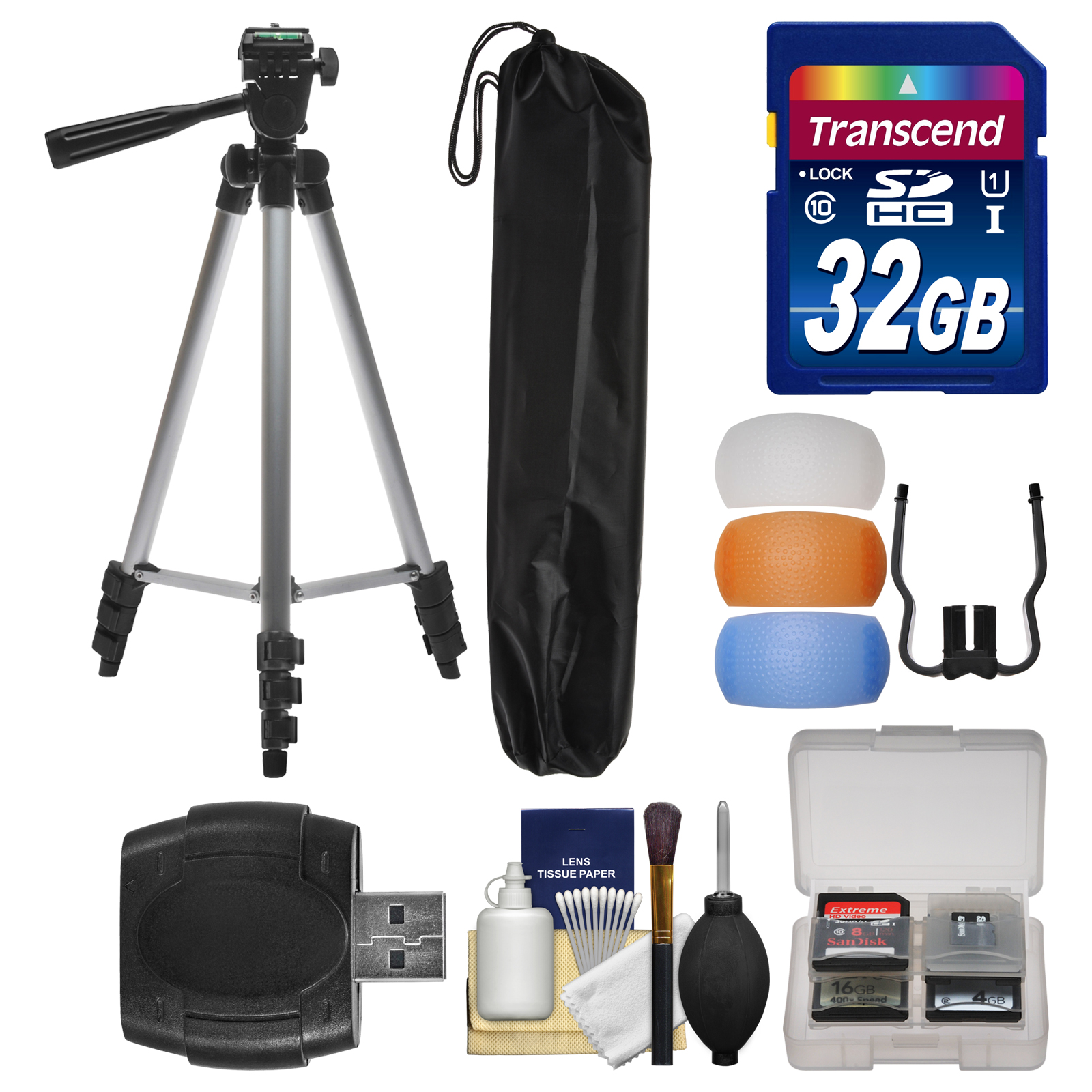 "Precision Design 50"" PD-50PVTR Compact Travel Tripod with 32GB Card + Flash Diffuser Set + Kit"