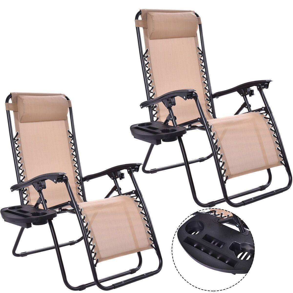 Zero Gravity Reclining Lounge Chair, Set of 2 (Beige)