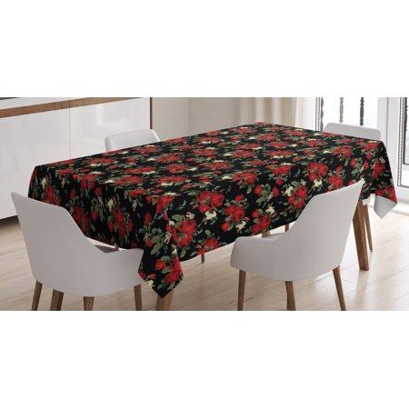 Red And Black Tablecloth Shabby Chic Garden Farm Flowers Leaves Roses Violets Rectangular