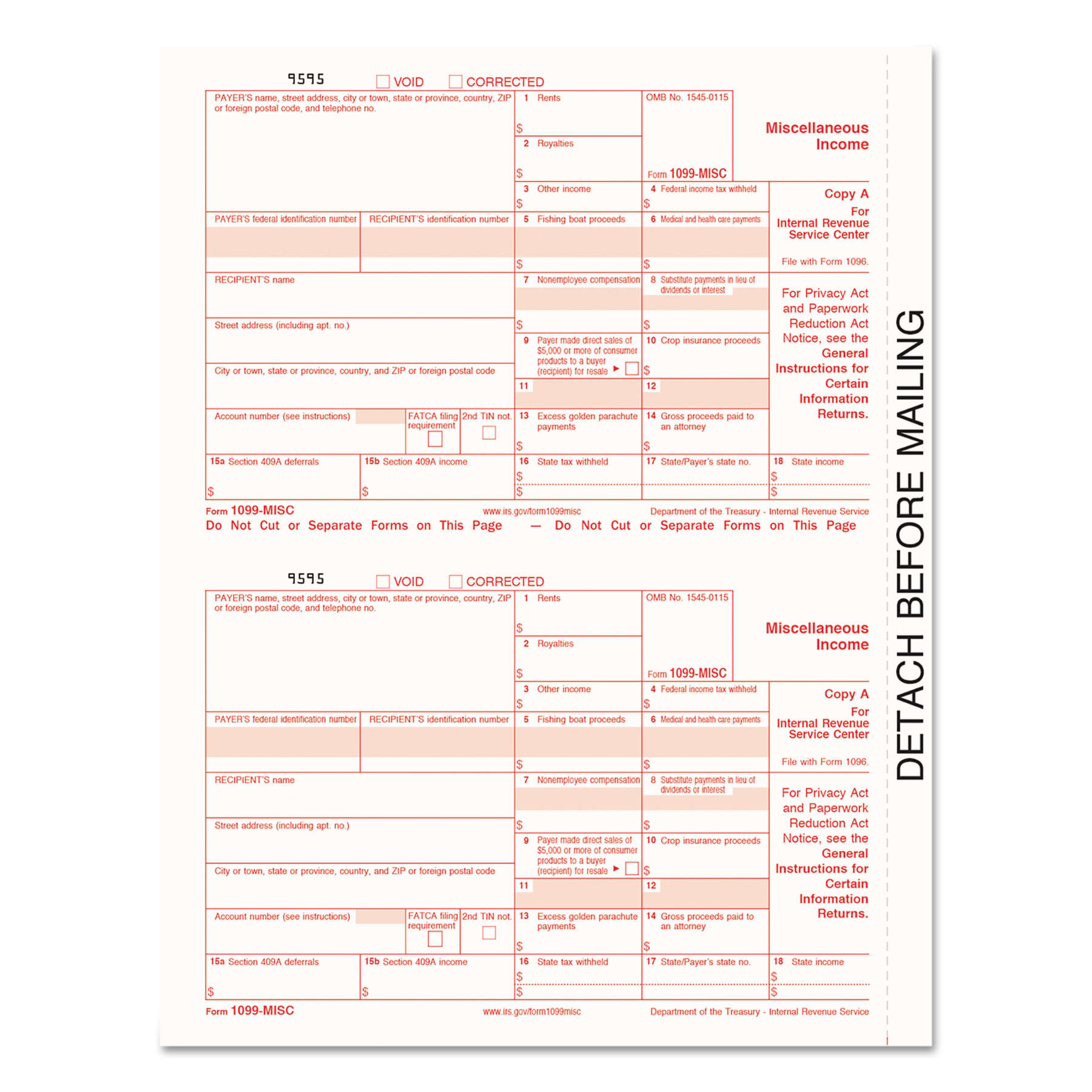 TOPS 1099-MISC Tax Forms, 5-Part, 5 1/2 x 8, Inkjet/Laser, 50 ...
