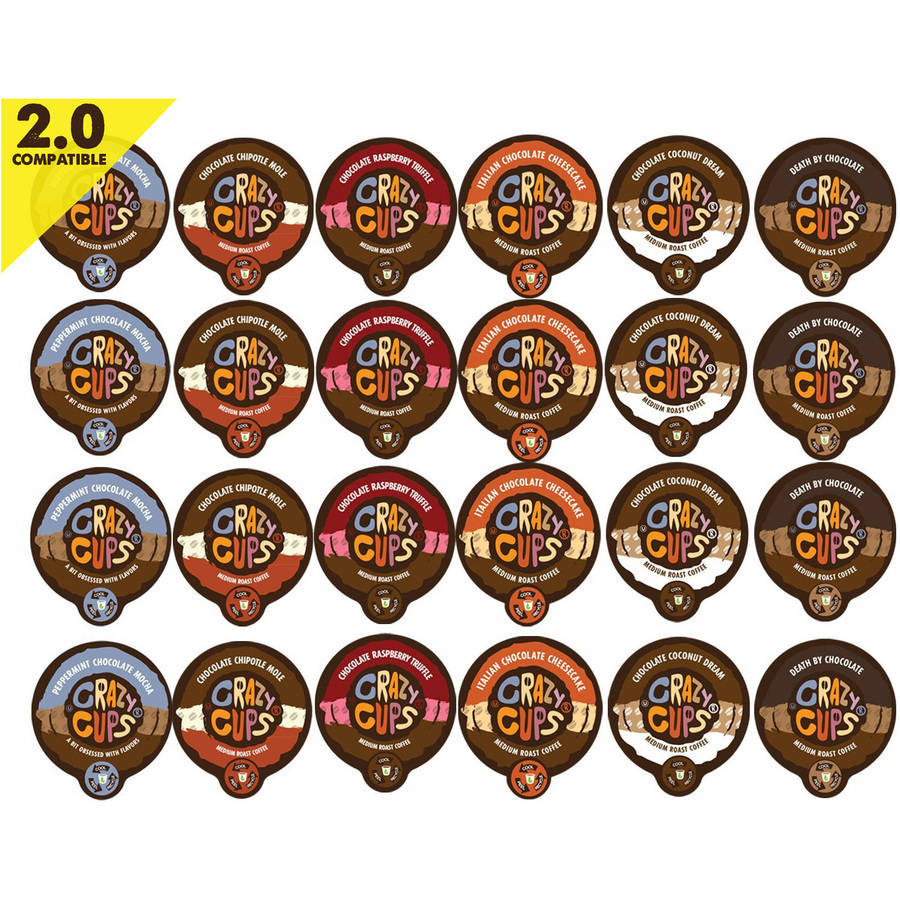 Crazy Cups Chocolate Lovers' Flavored Coffee Variety Single Serve Cups, 24 count