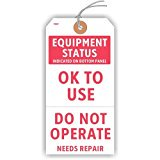 EQUIPMENT STATUS - OK TO USE or DO NOT OPERATE Tags, with Looped String, 5.75