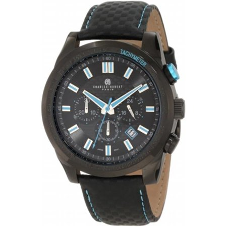 Charles-Hubert Paris 3946-BE Black-Plated Stainless Steel Case Black Dial Chronograph Watch - image 1 de 1