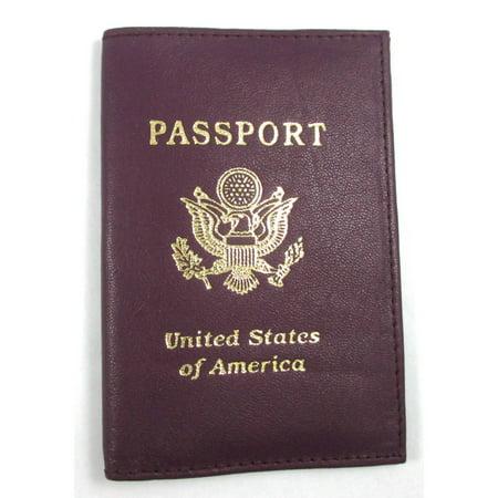 Violet Leather Passport Cover Holder Wallet Case Pass Port Travel Us Emblem Gold