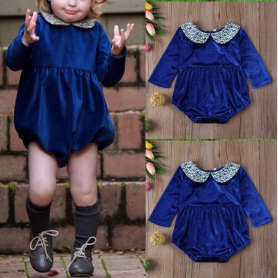 1b6cd0fd3a1 Hirigin - Newborn Toddler Long Sleeve Romper Girls Peter Pan Collar Flannel  Bodysuit Dress - Walmart.com
