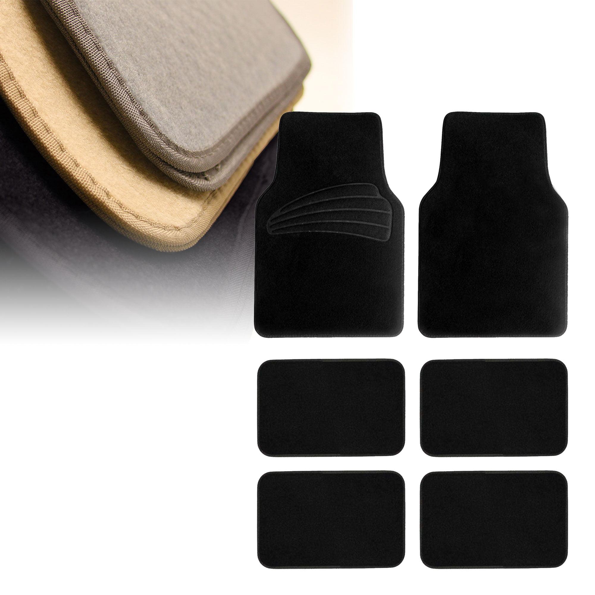 FH Group Premium Carpet Floor Mats With Heel Pad for SUV, VAN, 3 Row Full Set, Black