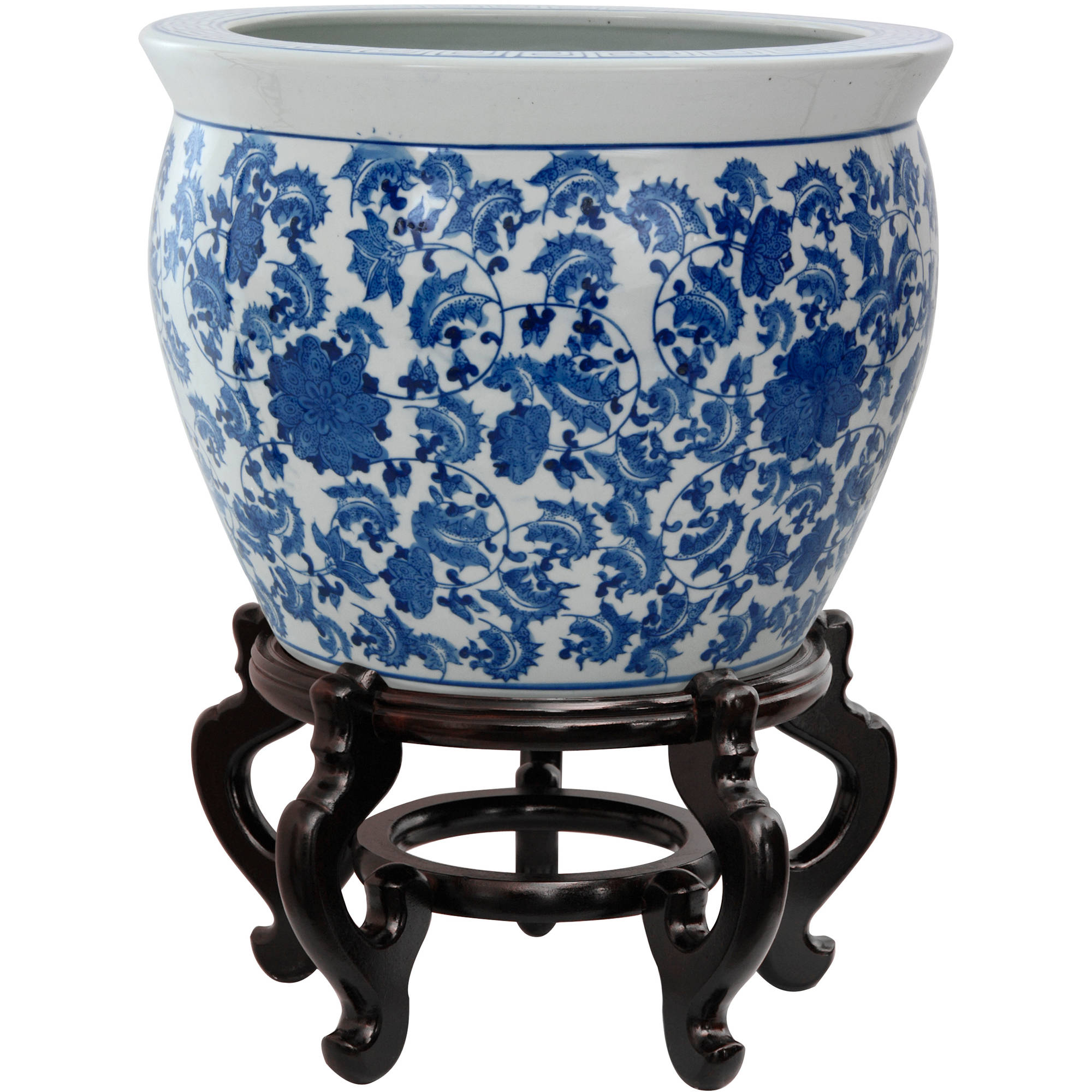 "12"" Floral Blue & White Porcelain Fishbowl"
