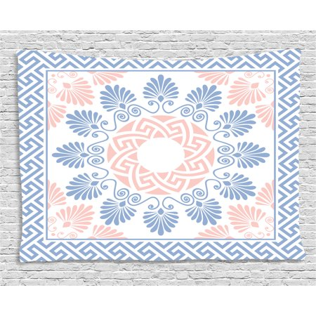 Greek Key Tapestry, Pastel Pink White and Blue Round Floral Grecian Fret Hellenic Ornament, Wall Hanging for Bedroom Living Room Dorm Decor, 60W X 40L Inches, Baby Blue Blush White, by Ambesonne ()