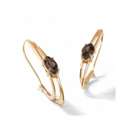 """4.90 TCW Genuine Marquise-Cut Smoky Quartz Oblong Double Hoop Earrings 14k Yellow Gold-Plated 2"""" Length"""