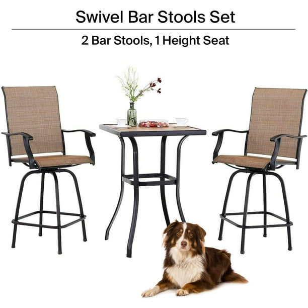 Ava Outdoor bar High Bistro set, 3-piece patio set, patio table and bar chairs