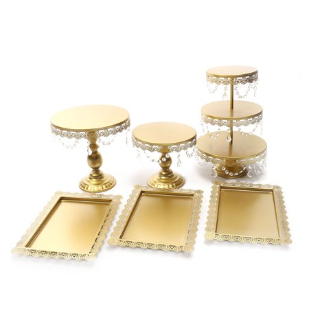 Mrosaa 6Pcs/Set Crystal Gold Plated Cake Holder Cupcake Stand and Towers Dessert Display Stand for Birthday Wedding Parties Decor - ON SALE Crystal Glass Cake Plate