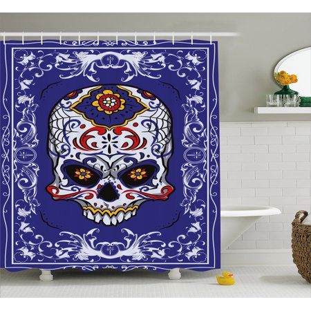 Sugar Skull Decor Shower Curtain, Scary Floral Skull with Motifs in Ornate Framework Swirls Gothic Vintage, Fabric Bathroom Set with Hooks, 69W X 70L Inches, Multicolor, by - Scary Sugar Skull