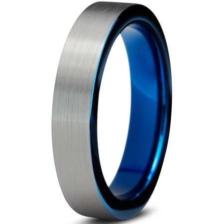 Tungsten Wedding Band Ring 4mm for Men Women Comfort Fit Blue Pipe Cut Brushed Lifetime Guarantee (Pipe Bands)