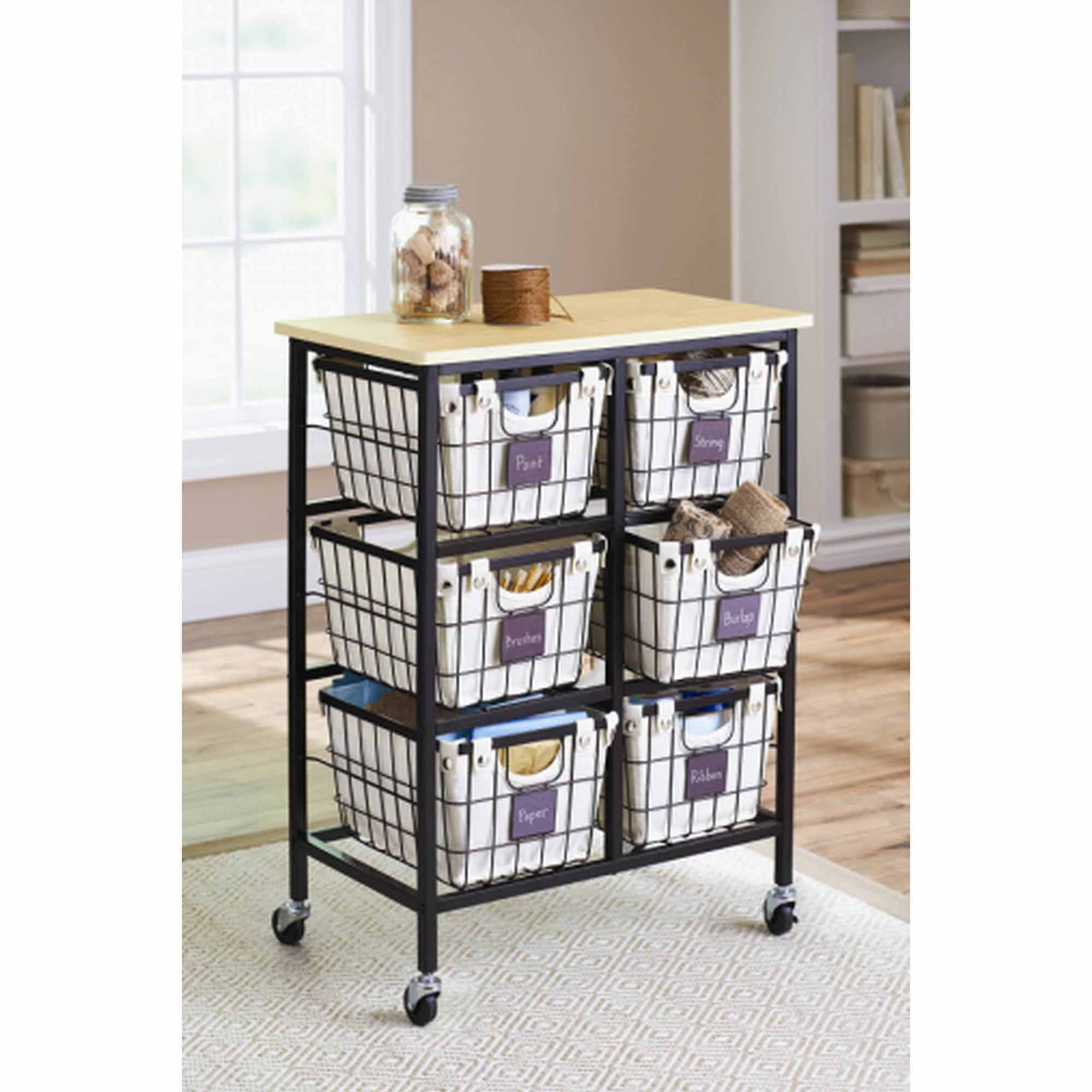 Better Homes and Gardens 6-Drawer Wire Rolling Cart (Black)