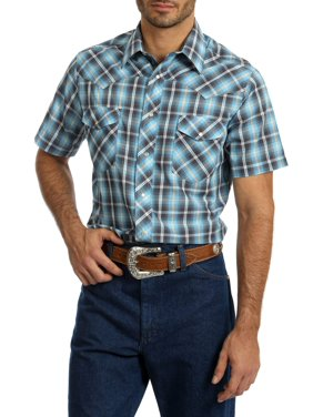 9fea0317 Product Image Big Men's Short Sleeve Plaid Western Shirt