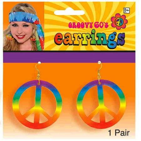 Groovy 60s Hippie Tye Dye Peace Sign Earrings Set - Hippie Earrings