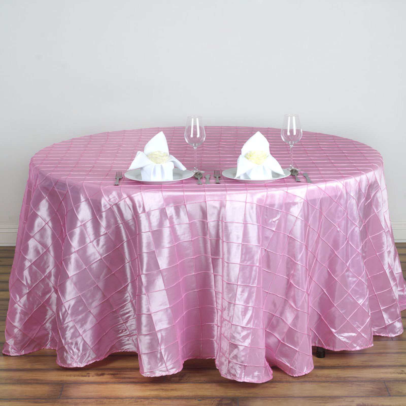 """Efavormart Pintuck Tablecloths 120"""" Round for Kitchen Dining Catering Wedding Birthday Party Decorations Events"""